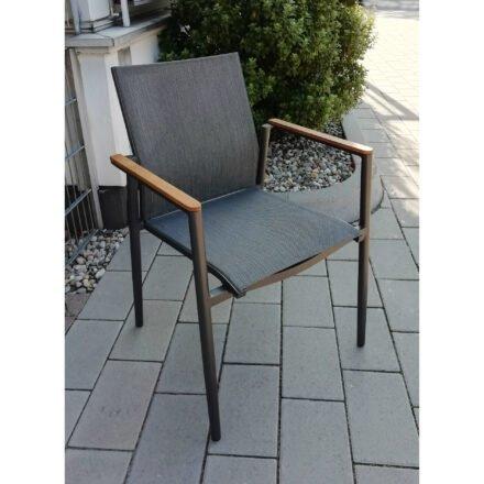 "Jati&Kebon Stapelstuhl ""Arosa"", Gestell Aluminium eisengrau matt, Bespannung Textilgewebe Batyline dark grey, Armlehnen Teakholz"