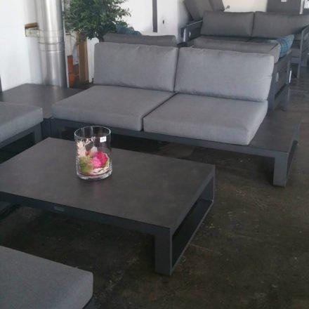 """Jati&Kebon Loungetisch """"Virginia"""", Gestell Aluminium eisengrau, Tischplatte HPL Nero granite, 2-Sitzer Seitenteil links, Sunbrella® schiefergrau (slate)"""