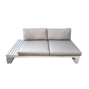 "Jati & Kebon ""Virginia"" 2-Sitzer, rechts, Gestell Aluminium weiß"