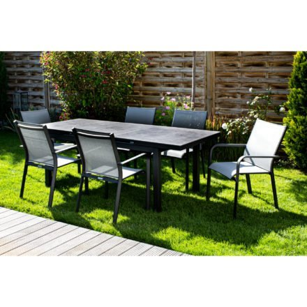 "Jati&Kebon Gartenstuhl ""Dransy"", Gestell Aluminium eisengrau, Textilgewebe silbergrau, Tisch ""Gabon"", Aluminium eisengrau, Tischplatte HPL"