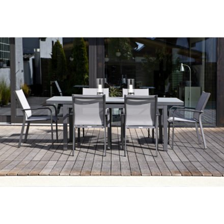 "Jati&Kebon Gartenstuhl ""Dransy"", Gestell Aluminium eisengrau, Textilgewebe silbergrau, Tisch ""Gabon"", Aluminium eisengrau, Tischplatte Glas hellgrau"