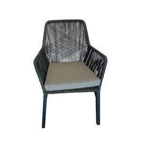 "SIT Mobilia Gartenstuhl ""Morris"", Gestell Aluminium eisengrau, Geflecht Twisted Ebony, Kissen white/grey"