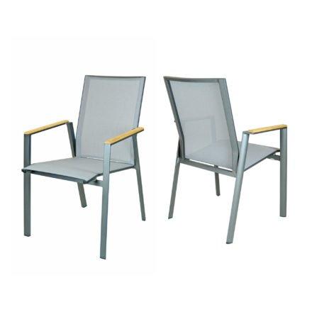 "SIT Mobilia Stapelstuhl ""Merlo"", Gestell Aluminium eisengrau, Bespannung Textilen silber, Armlehne Teakholz-Auflage"