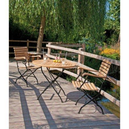 """SonnenPartner Klappsessel """"Oxford"""" & Gartentisch """"Oxford"""", Gestell aus Eisen, Sitzfläche/ Tischplatte aus Teakholz"""