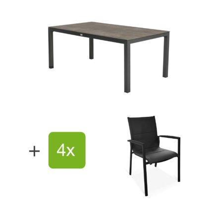 """Tierra Outdoor Gartenmöbel-Set mit Tisch """"Briga"""", Tischplatte HPL forest grey, und vier Stapelsesseln """"Foxx"""""""