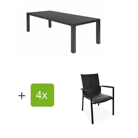 """Tierra Outdoor Gartenmöbel-Set mit Tisch """"Briga"""", Tischplatte HPL graphit, und vier Stapelsesseln """"Foxx"""""""