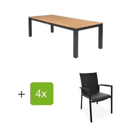 """Tierra Outdoor Gartenmöbel-Set mit Tisch """"Briga"""", Tischplatte Teak, und vier Stapelsesseln """"Foxx"""""""