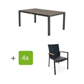 """Tierra Outdoor Gartenmöbel-Set mit Tisch """"Briga"""", Tischplatte HPL forest grey, und vier Stapelsesseln """"Foxx"""" mit Armlehnen Teak"""