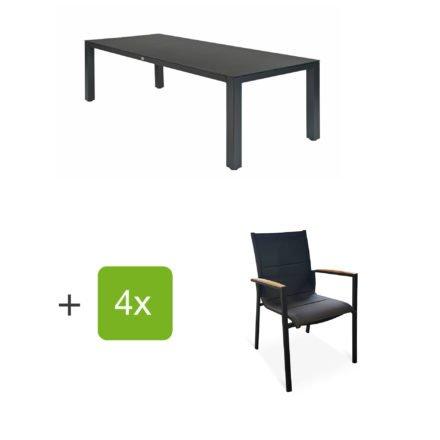 """Tierra Outdoor Gartenmöbel-Set mit Tisch """"Briga"""", Tischplatte HPL graphit, und vier Stapelsesseln """"Foxx"""" mit Armlehnen Teak"""