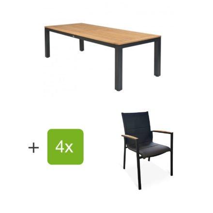 """Tierra Outdoor Gartenmöbel-Set mit Tisch """"Briga"""", Tischplatte Teak, und vier Stapelsesseln """"Foxx"""" mit Armlehnen Teak"""