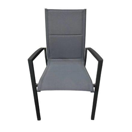 """Tierra Outdoor Stapelsessel """"Foxx High"""", Gestell Aluminium anthrazit, Sitzfläche Textilgewebe grau, Armlehnen Alu"""