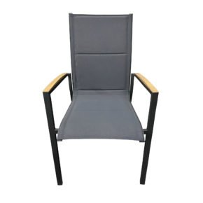 "Tierra Outdoor Stapelsessel ""Foxx High"", Gestell Aluminium anthrazit, Sitzfläche Textilgewebe grau, Armlehnen-Auflage Teak"