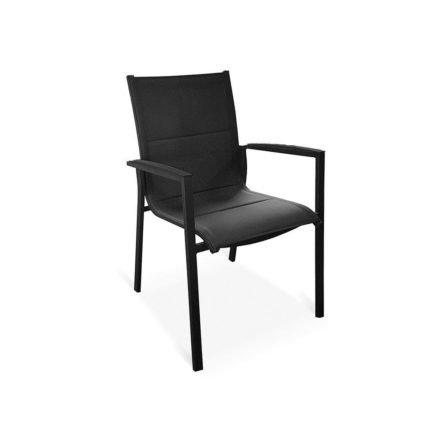 "Tierra Outdoor Stapelsessel ""Foxx"", Gestell Aluminium anthrazit, Sitzfläche Textilgewebe grau, Armlehnen-Auflage Alu"