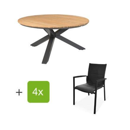 """Tierra Outdoor Tisch """"Omnigo"""" mit Stuhl """"Foxx High"""", Alu anthrazit, Tischplatte Teak"""