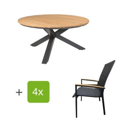 """Tierra Outdoor Tisch """"Omnigo"""" mit Stuhl """"Foxx High"""", Alu anthrazit, Armlehne Teak, Tischplatte Teak"""