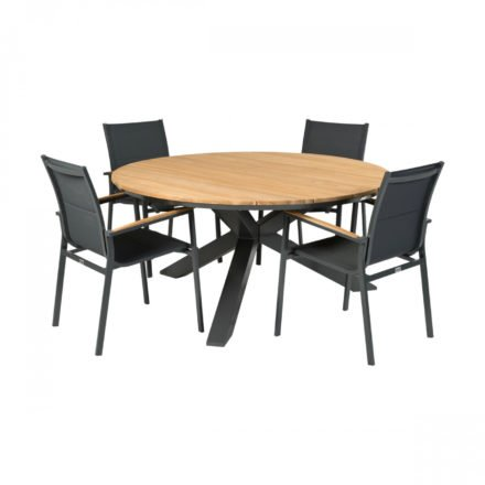 """Tierra Outdoor Tisch """"Omnigo"""" mit Stuhl """"Foxx"""", Alu anthrazit, Tischplatte Teak"""
