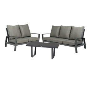 """Tierra Outdoor """"Valencia"""" 2-Sitzer Loungesofa, 3-Sitzer Loungesofa und Loungetisch Teakplatte, Gestell Aluminium anthrazit, Tischplatte HPL"""
