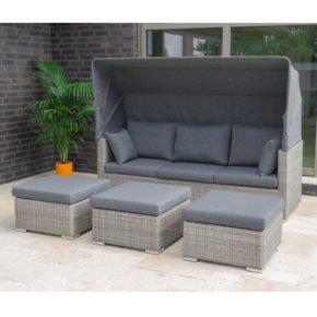 "Zebra ""Jack Lounge Comfort"", Untergestell Aluminium, Geflecht Polyrattan slate, Kissen & Sonnendach grau"