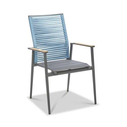 """Musterring Freilicht """"Amsterdam"""" Gartenstuhl, Gestell Aluminium anthrazit, Sitz Textil gepolstert schwarz, Rücken Kordelbespannung blau"""