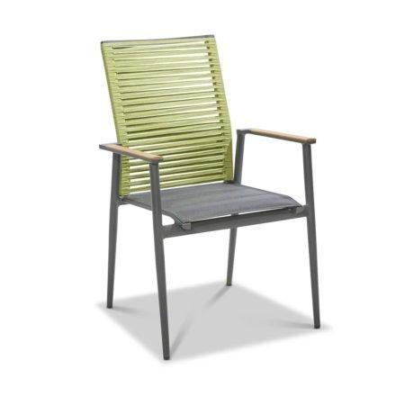"""Musterring Freilicht """"Amsterdam"""" Gartenstuhl, Gestell Aluminium anthrazit, Sitz Textil gepolstert schwarz, Rücken Kordelbespannung grün"""