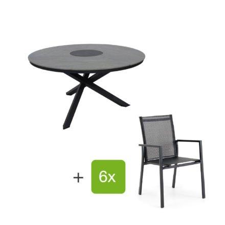 "Brafab Gartenmöbel-Set mit Tisch ""Kenora"" Alu anthrazit/Platte Keramik grau, Stapelstuhl ""Avanti"", Alu anthrazit matt/Textilgewebe grau"
