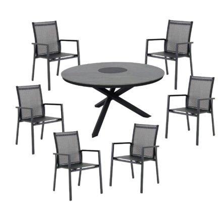 "Brafab Gartenmöbel-Set mit Tisch ""Kenora"" Alu anthrazit/Platte Keramik grau, 6x Stapelstuhl ""Avanti"", Alu anthrazit matt/Textilgewebe grau"