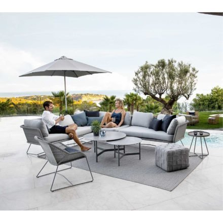 "Cane-line ""Horizon"" Loungemodule, Cane-line Weave® hellgrau mit ""Twist"" Loungetisch und ""Breeze"" Gartenstuhl, ""Cube"" Hocker, ""On-the-move"" Beistelltisch"