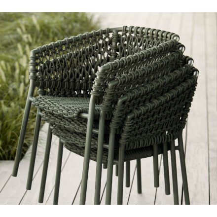 "Cane-line ""Ocean"" Gartensessel, Soft Rope dark green, stapelbar"