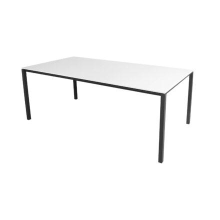 "Cane-line Gartentisch ""Pure"", Gestell Aluminium lavagrau, Tischplatte HI-Core weiß, 200x100 cm"