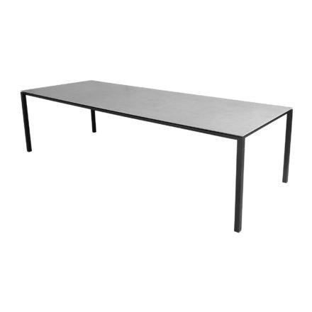 "Cane-line Gartentisch ""Pure"", Gestell Aluminium lavagrau, Platte Keramik concrete-grey, 280x100 cm"