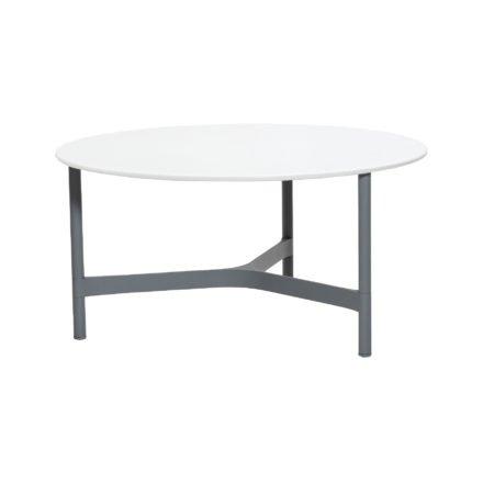 """Cane-line """"Twist"""" Loungetisch, groß, Gestell Aluminium hellgrau, Tischplatte HI-Core weiß"""