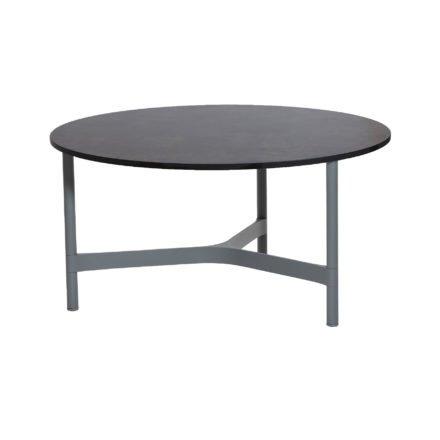 """Cane-line """"Twist"""" Loungetisch, groß, Gestell Aluminium hellgrau, Tischplatte HPL dark grey structure"""