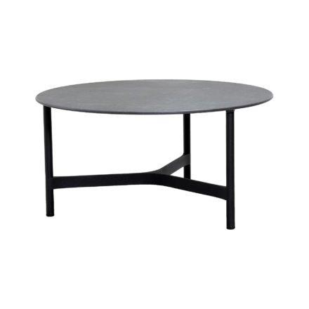 """Cane-line """"Twist"""" Loungetisch, groß, Gestell Aluminium lavagrau, Tischplatte Keramik schwarz"""