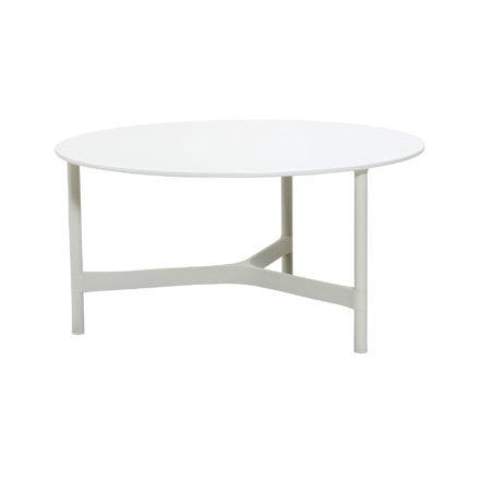 """Cane-line """"Twist"""" Loungetisch, groß, Gestell Aluminium weiß, Tischplatte HI-Core weiß"""