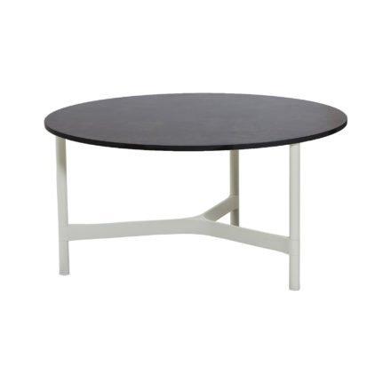 """Cane-line """"Twist"""" Loungetisch, groß, Gestell Aluminium weiß, Tischplatte HPL dark grey structure"""