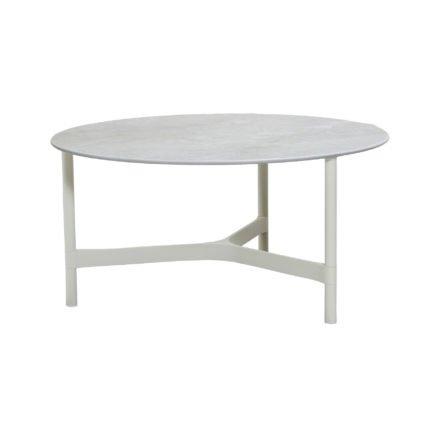 """Cane-line """"Twist"""" Loungetisch, groß, Gestell Aluminium weiß, Tischplatte Keramik grau"""