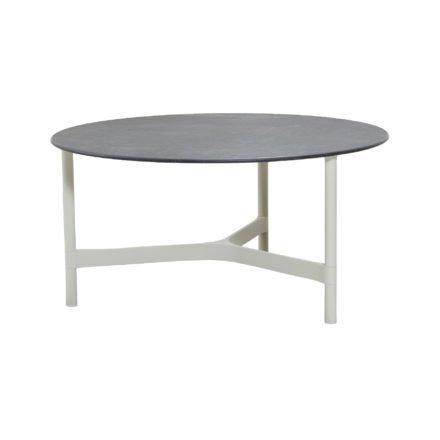 """Cane-line """"Twist"""" Loungetisch, groß, Gestell Aluminium weiß, Tischplatte Keramik schwarz"""