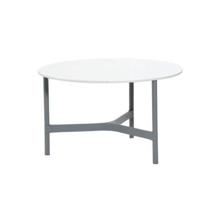 """Cane-line """"Twist"""" Loungetisch, mittelgroß, Gestell Aluminium hellgrau, Tischplatte CI-Core weiß"""
