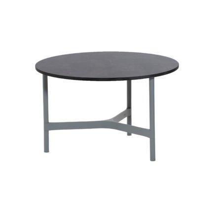 """Cane-line """"Twist"""" Loungetisch, mittelgroß, Gestell Aluminium hellgrau, Tischplatte HPL dark grey structure"""