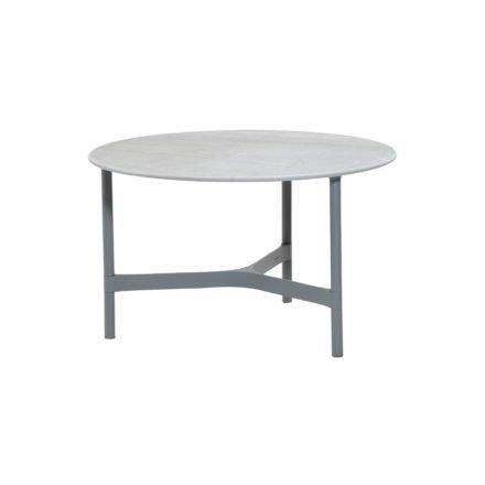 """Cane-line """"Twist"""" Loungetisch, mittelgroß, Gestell Aluminium hellgrau, Tischplatte Keramik grau"""