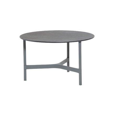 """Cane-line """"Twist"""" Loungetisch, mittelgroß, Gestell Aluminium hellgrau, Tischplatte Keramik schwarz"""