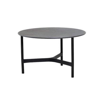 """Cane-line """"Twist"""" Loungetisch, mittelgroß, Gestell Aluminium lavagrau, Tischplatte Keramik schwarz"""