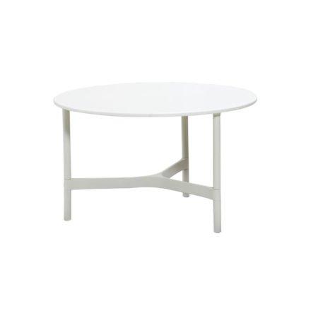 """Cane-line """"Twist"""" Loungetisch, mittelgroß, Gestell Aluminium weiß, Tischplatte HI-Core weiß"""