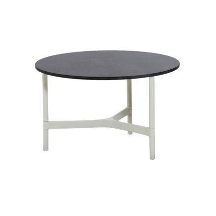"""Cane-line """"Twist"""" Loungetisch, mittelgroß, Gestell Aluminium weiß, Tischplatte HPL dark grey structure"""