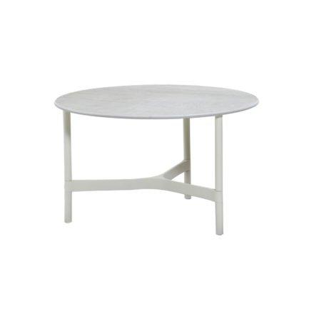 """Cane-line """"Twist"""" Loungetisch, mittelgroß, Gestell Aluminium weiß, Tischplatte Keramik grau"""