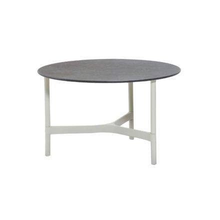 """Cane-line """"Twist"""" Loungetisch, mittelgroß, Gestell Aluminium weiß, Tischplatte Keramik schwarz"""
