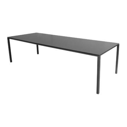 """Cane-line Gartentisch """"Pure"""", Gestell Aluminium lavagrau, Platte Keramik nero-black, 280x100 cm"""