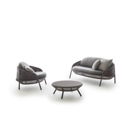 """DEDON 2-Sitzer, Loungesessel und Kaffeetisch """"AHNDA"""", Geflecht graphite"""