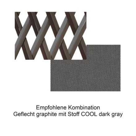 DEDON Geflecht graphite mit Stoff COOL dark gray