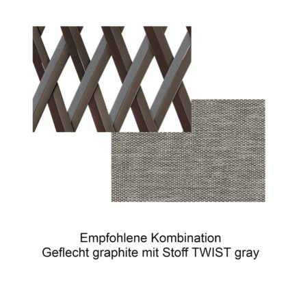 DEDON Geflecht graphite mit Stoff TWIST gray